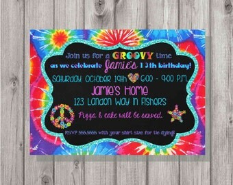 DIGITAL Groovy Hippie Tie Dye Glitter & Chalkboard Birthday Girl Party Invitation Add a Photo