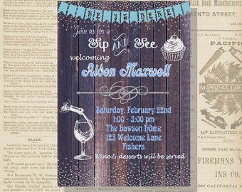 Digital Sip and See Wine & Cupcakes Rustic Baby Boy Shower Party Invitation Printable
