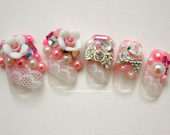 Kawaii Nails Rose Japanese 3D Nail Art-3D Press On Nail- False Nails, Kawaii Lolita, Cosplay, Princess Hime Gyaru  Pearl  Kawaii Fake Nails