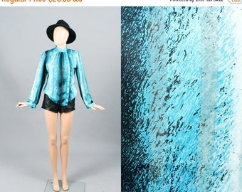 Vintage Electric Blue Ombre Sheer Secretary Blouse Top Striped 80s Shirt (S)