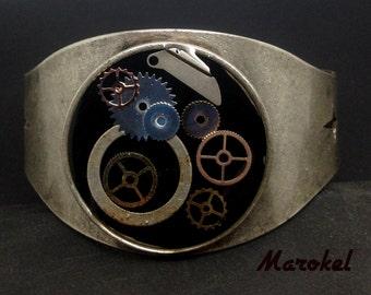 Watch Gear Industrial Cuff Unisex Adjustable resin Hardware Jewelry Black Steampunk