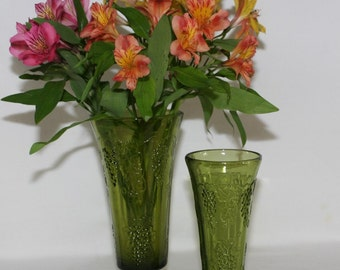 Green Footed Vases with Grape Clusters in Two Sizes