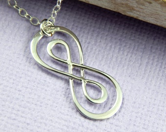 Infinity Necklace, Double Infinity Necklace, Pendant Necklace, Mothers Necklace, Sterling Silver Infinity Necklace
