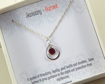 January Birthstone Necklace, Personalized infinity necklace, Garnet, birthstone jewelry, gift boxed necklace