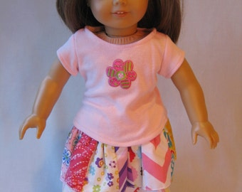 """Pink T-Shirt and Ruffled Patchwork Tiered Skirt Doll Outfit fits American Girl Doll 18"""" Doll Clothes yellow green purple"""