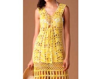 INSTANT DOWNLOAD PDF Vintage Crochet Pattern   Summer Sun Dress Lace Tunic Beach Cover Up    Retro Plus Free Pattern