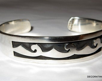 Mexico Wave Sterling Silver 925 Cuff Bracelet 30g