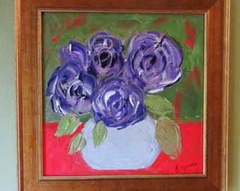 Original-Floral Oil Painting~Love at First Sight-The Lavender Rose by Evie Mineau. Professionally Framed 12.5 x 12.5 and Ready to Hang