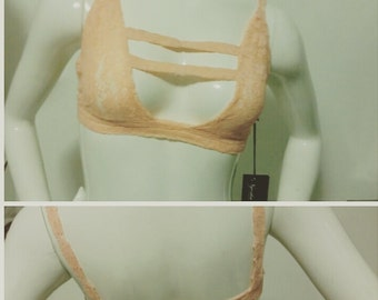 Sample SALE: Peach Lace Bralette (sample size Medium, B/C cup)