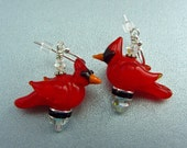 Reserved For Kim - Five Pairs of Cardinal Earrings - Lampwork Glass Creation SRA