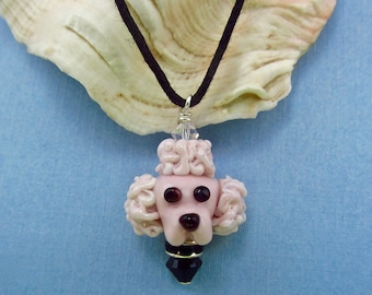 Pink Poodle Necklace - Lampwork Glass Creation SRA