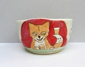 "Party Animals Red Cereal Bowl with White Rabbit, Orange Fox, and Black Bear, Small Bowl, Soup or Salad Bowl, Animal Pottery, ""Barflies"""