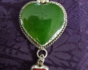 Sterling Silver Double Jade and Red Jasper Heart Shaped Necklace Pendant