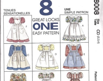 McCall's 8008  Girls Dress and Pinafore 8 Designs  Size 6-7-8  Uncut New