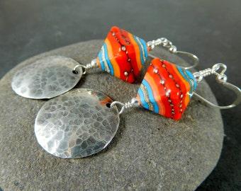 Colorful Southwestern Glass & Sterling Silver Disc Dangle Earrings, Lampwork Earrings, Tribal Boho Orange Red Turquoise, Triangle Geometric