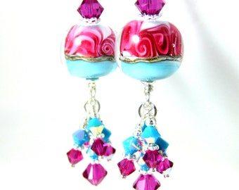 Fuchsia Turquoise Blue Glass & Crystal Dangle Earrings, Pink Blue Lampwork Earrings, Pastel Jewelry, Boho Chic Earrings, Pretty Gift for Her
