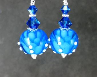 Blue Water Lily Earrings, Lotus Earrings, Azure Blue White Flower Glass Earrings, Botanical Earrings, Floral Dangle, Caribbean Blue Lampwork