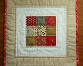 Monica's mini Quilt Table Centerpiece Red and Brown