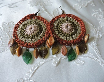 Native American inspired cyclic crochet earrings