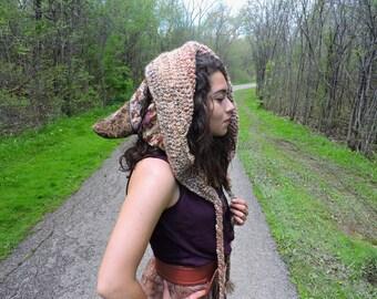 Elven goddess crochet reversible hood
