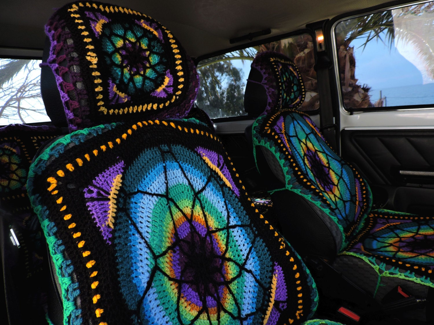 vibrant crochet car seat covers. Black Bedroom Furniture Sets. Home Design Ideas