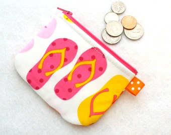 Cute and Colorful Flip Flops Summer Mini Coin Purse  Fabric Zipper Change Purse Anne Kelle Hot Pink Orange Yellow