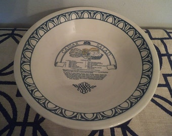 Vintage Blue and White Caesar Salad Bowl ~ Recipe inside ~ Large Serving Bowl