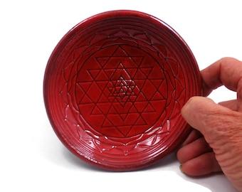 Sri Yantra Divine Feminine Offering Bowl Ceramic Pottery