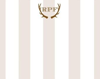 Antler Stripe Personalized Notecard or Invitation Set