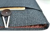 iPad Sleeve iPad Case Tablet iPad Air Case, iPad Mini, Custom Size Fit, Padded With Pocket - Herringbone