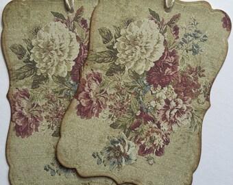 Vintage Wallpaper inspired bracket tags, set or 6, string ties.