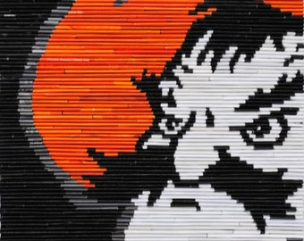 Officially licensed Oklahoma State University PISTOL PETE orange,wall hanging- made from recycled magazines, black, modern,art,college
