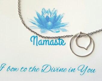 Lotus circle of life necklace.sterling silver hoop lotus petal.  Namaste card gift,encouragement, survivor gifts for her