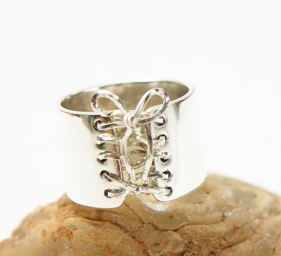 Corset Ring , Boho Bohemian, Sterling Silver Wide Band Ring, Anniversary Ring