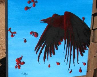 "Original Oil Painting ""Blood Raven"" 12 X 12"""
