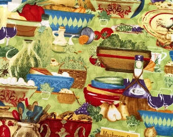 SALE South Seas Imports, Potpourri Fabric by Grace Pullen Foodie Fabric, Foodie Fabric, 49 x 36 Inch Fabric