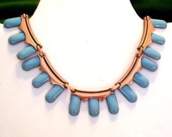 Matisse Necklace, Rame' Necklace, Vintage Copper Enamel Necklace, Modernist Copper Jewelry, Mid Century Copper