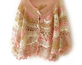 Freeform crochet cape, Cape poncho, Boho cape,  Boho poncho, Lace crochet wrap, Wearable art, Bridal cape, Wedding cape, Shawl