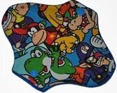 Liner Hemp Core- Mario Faces Reusable Cloth Petite Pad- WindPro Fleece- 6.5 Inches