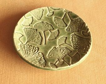 Ceramic GINKGO LEAF Dish - Handmade Green Stoneware Ginkgo Ring Dish - Ready To Ship