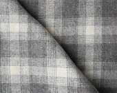 Cream, Brown, and Grey Large Plaid -  Felted Wool Fabric Yard in 100% Wool in a Fat Eighth or Fat Quarter Yard