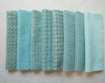 Aqua Hand Dyed Felted Wool Fabric in Aqua Bundle Pack of 8 Quilting, Sewing, Wool Applique by Quilting Acres