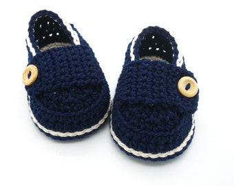 Baby boy loafers, newborn baby gift, Crochet baby shoes handmade in France