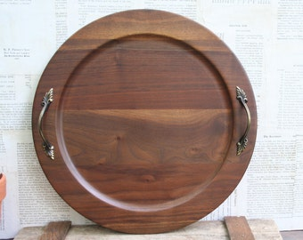 Beautiful Vintage Round Walnut Serving Tray with Handles...Handmade In The Ozarks