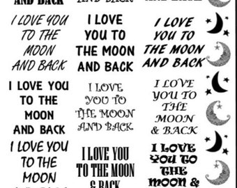 Love You To The Moon And Back Sepia Decals for Image Transfer Onto Glass (25moon) Crescent Moons and Quotes