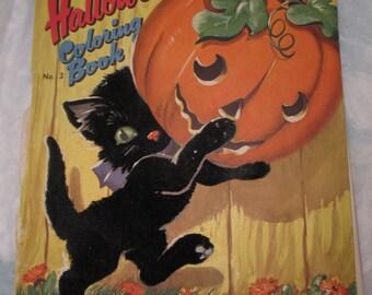 Vintage Mid Century Dell HALLOWEEN Felt Cat Figure Trick or Treat Coloring Book Covers Vintage trick or treat ephemera