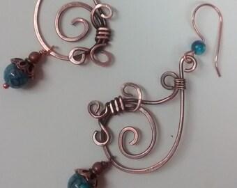 Dangle Earrings, Copper earrings,