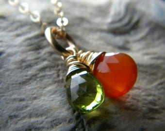 Tangerine orange carnelian and green peridot briolette necklace - 14k gold fill - Wire wrapped jewelry handmade