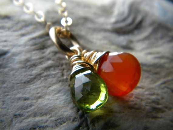 Tangerine orange carnelian and green peridot briolette necklace - 14k gold fill - Wire wrapped jewelry handmade