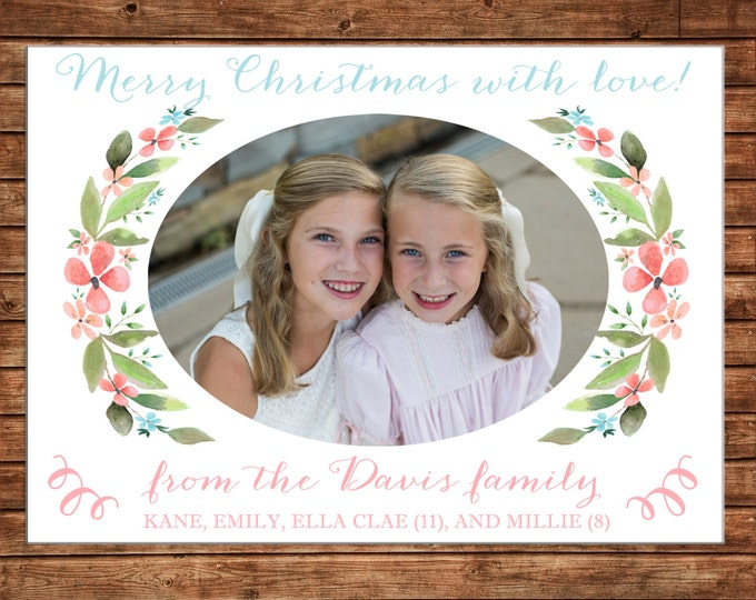 Photo Picture Christmas Holiday Card Watercolor Flowers Floral Laurel Wreath Pink Peach Teal - Digital File